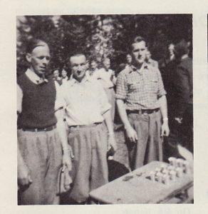 """Sølv-laget"" - fra venstre: Kaare Kraft, Ivar Brustad, Ragnar Halvorsrud."